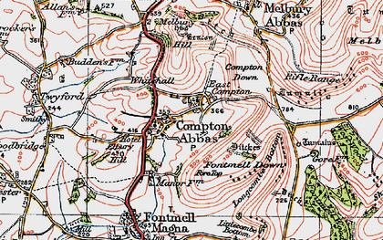 Old map of Compton Abbas in 1919