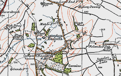 Old map of Compton Bassett in 1919