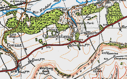 Old map of Compton Chamberlayne in 1919