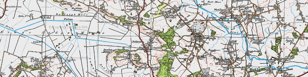 Old map of Compton Dundon in 1919