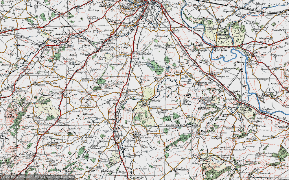 Old Map of Historic Map covering Allfield in 1921