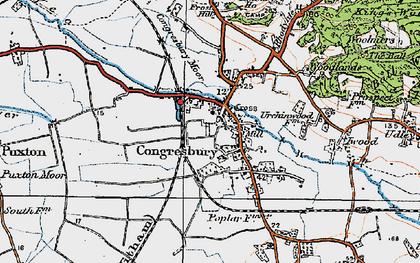 Old map of Congresbury in 1919