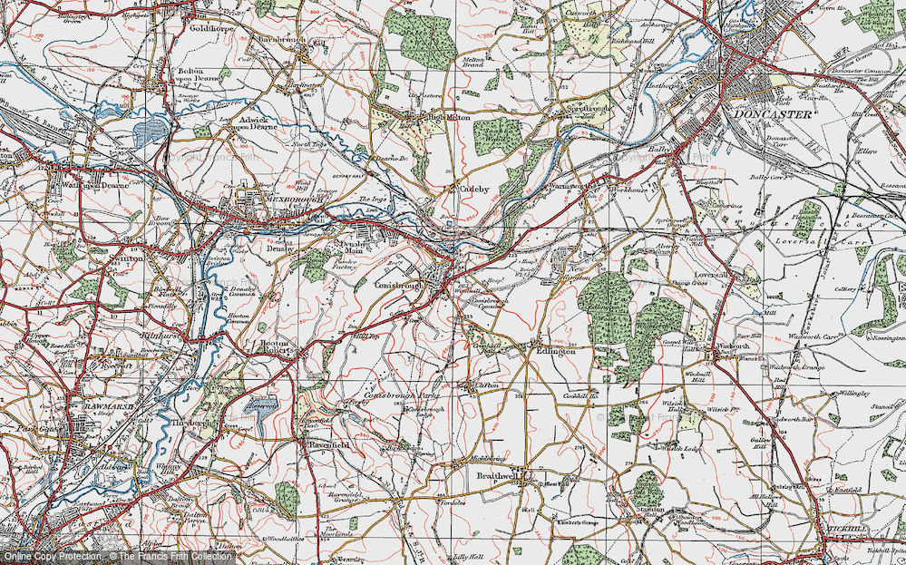 Old Map of Conisbrough, 1923 in 1923