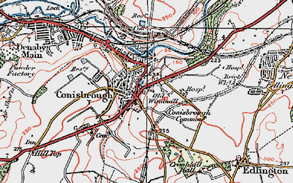 Old map of Conisbrough in 1923