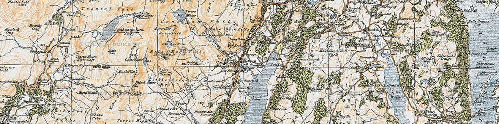 Old map of Coniston in 1925