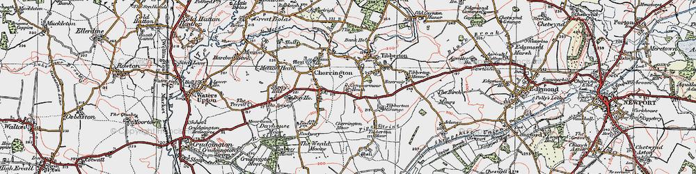 Old map of Tibberton Grange in 1921