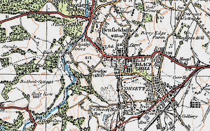 Old map of Consett in 1925