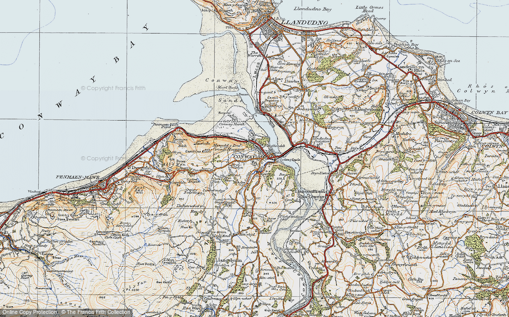 Old Map of Conwy, 1922 in 1922