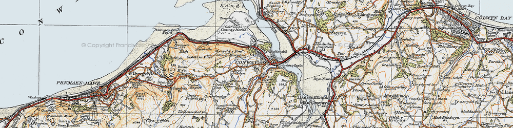 Old map of Conwy in 1922