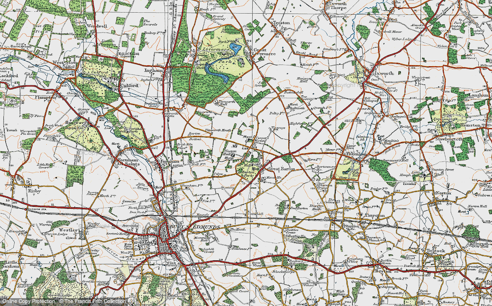 Old Map of Historic Map covering Timworth Heath in 1920