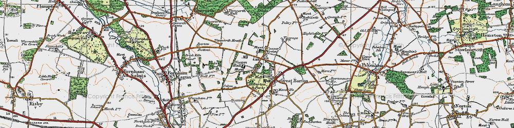 Old map of Timworth Heath in 1920