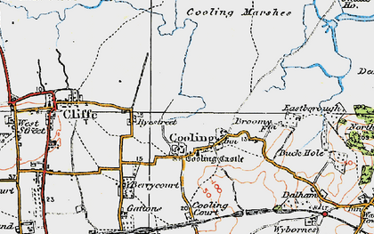 Old map of Whalebone Marshes in 1921