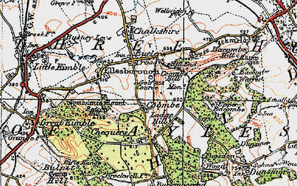 Old map of Coombe in 1919