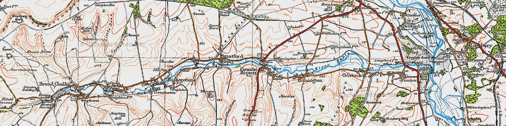 Old map of Coombe Bissett in 1919