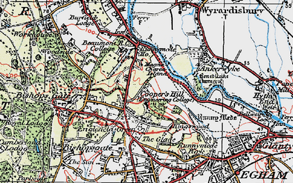 Old map of Cooper's Hill in 1920