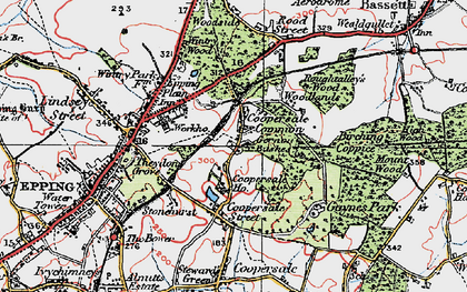 Old map of Coopersale Common in 1920
