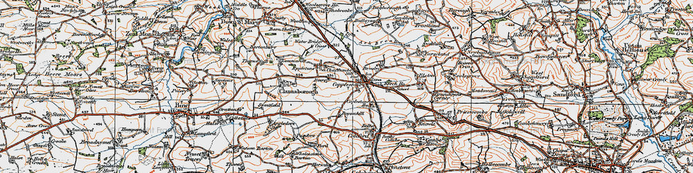 Old map of Copplestone in 1919