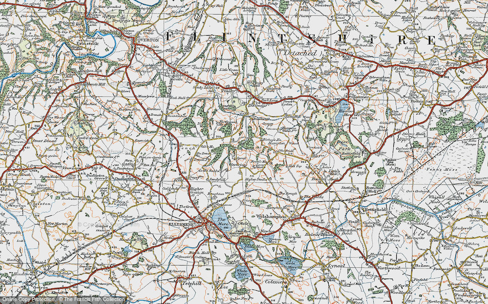 Old Map of Historic Map covering Lionlane Wood in 1921
