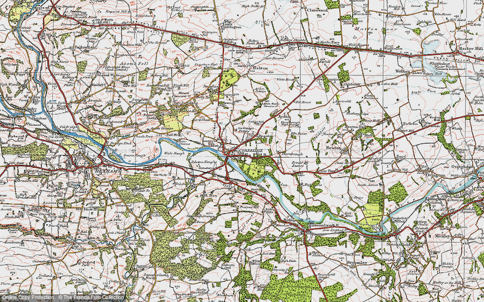 Old Map of Corbridge, 1925 in 1925