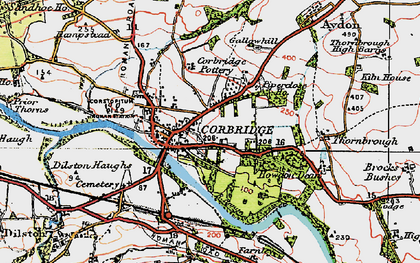 Old map of Corbridge in 1925