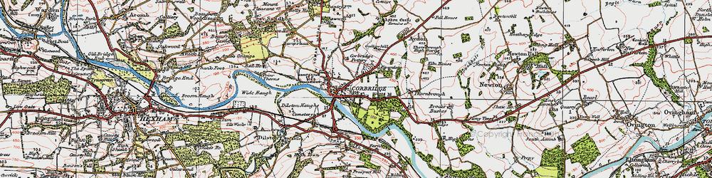 Old map of Corbridge in 1925