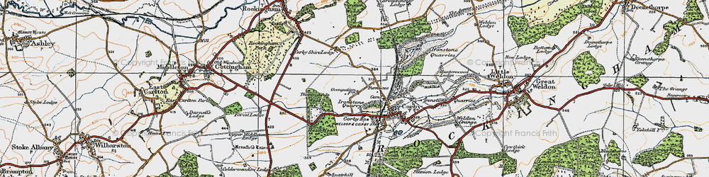 Old map of Corby in 1920