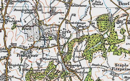 Old map of Corfe in 1919