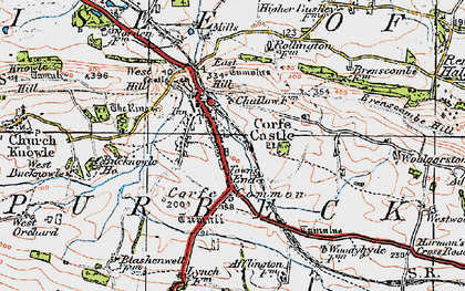 Old map of Corfe Castle in 1919