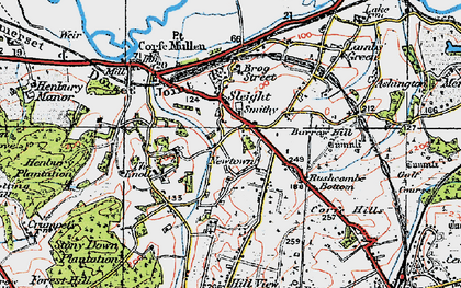 Old map of Corfe Mullen in 1919