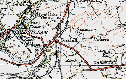 Old map of Cornhill on-Tweed in 1926