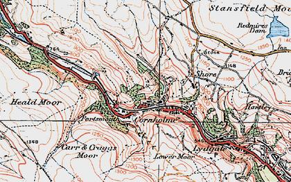 Old map of Cornholme in 1924