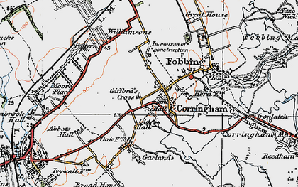 Old map of Corringham in 1920