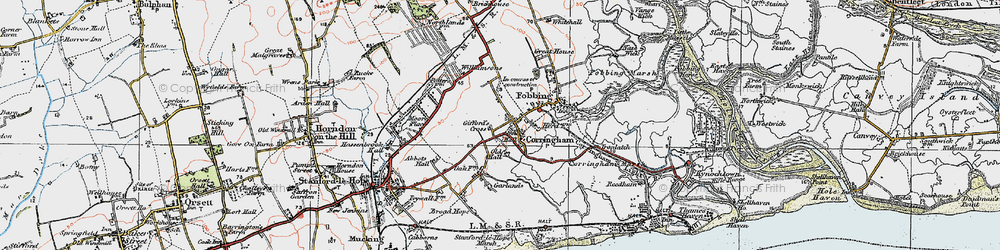 Old map of Corringham in 1920