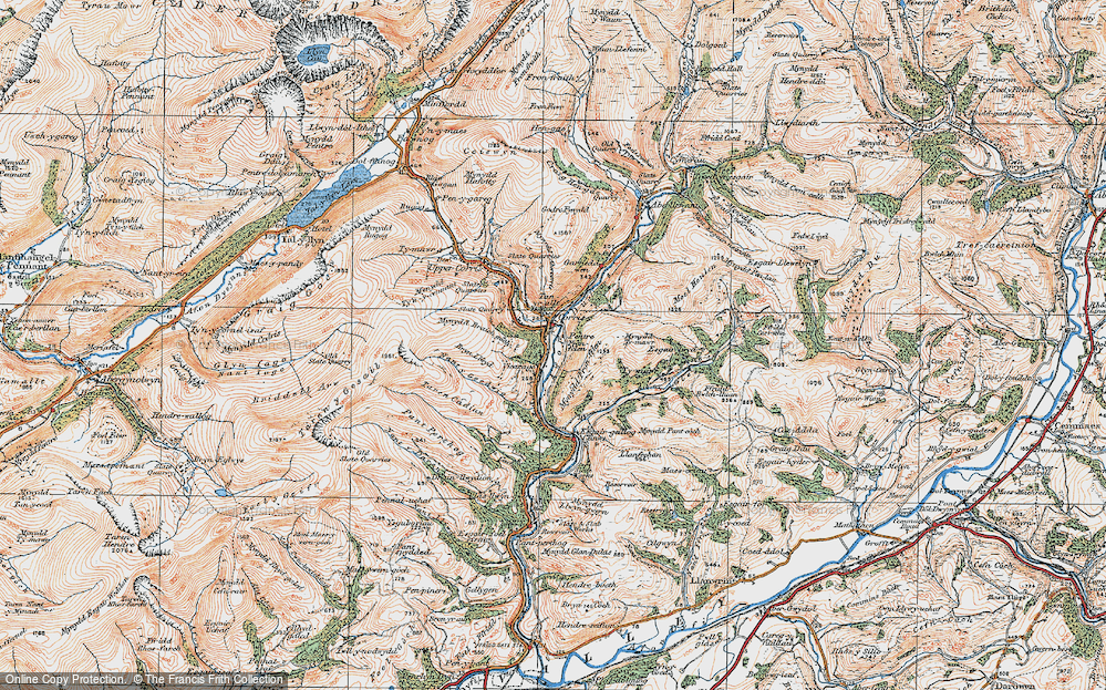 Old Map of Corris, 1921 in 1921