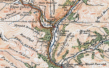 Old map of Corris in 1921