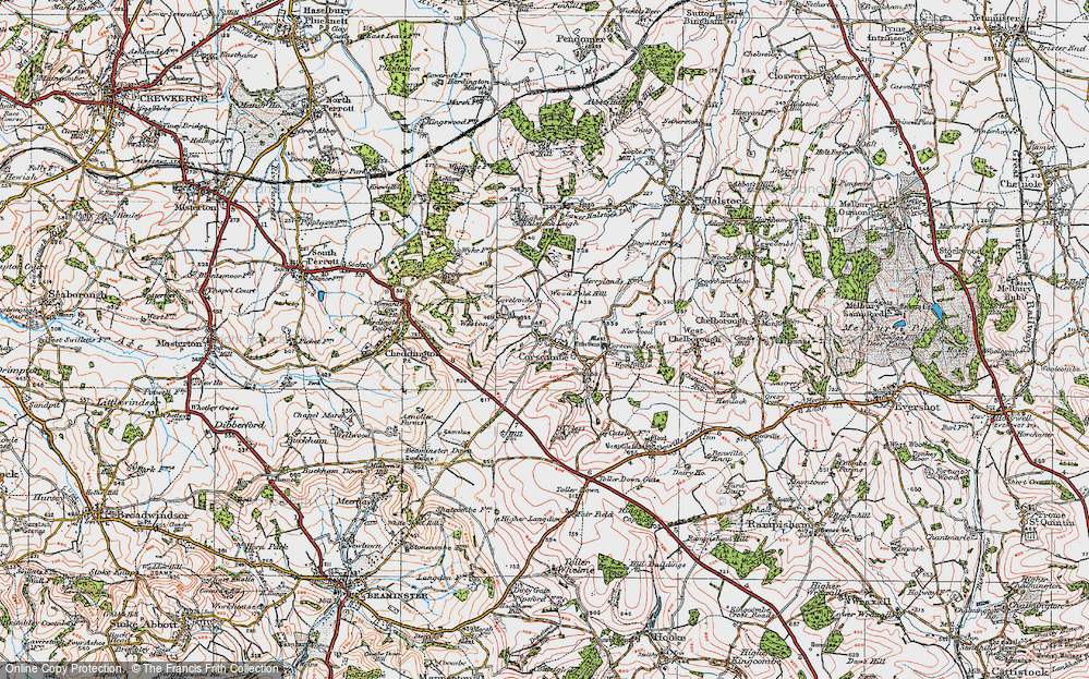 Old Map of Historic Map covering Wood Fold Hill in 1919