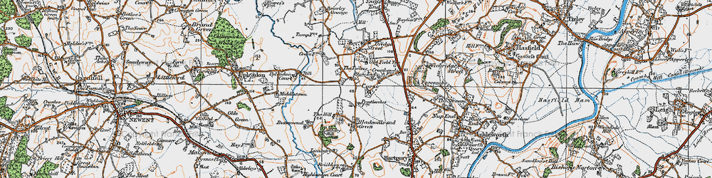 Old map of Limbury Hill in 1919