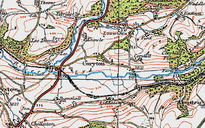 Old map of Lee Downs in 1919