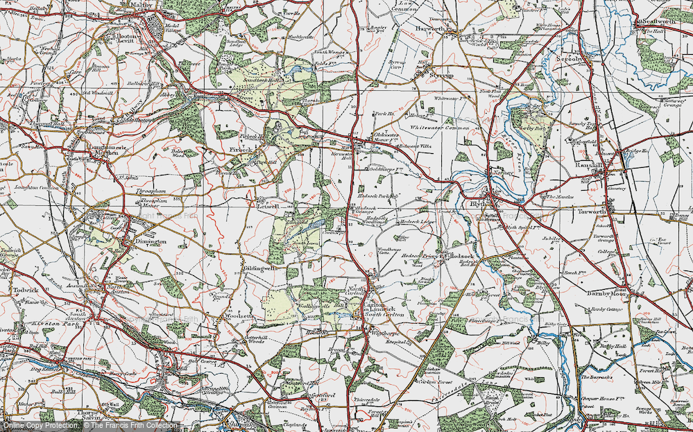 Old Map of Historic Map covering Langold Country Park in 1923