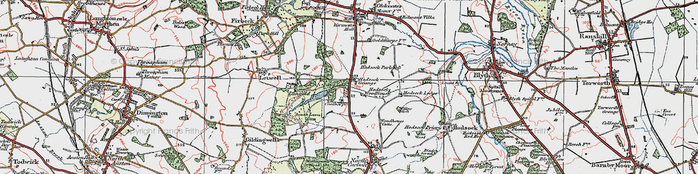 Old map of Langold Country Park in 1923