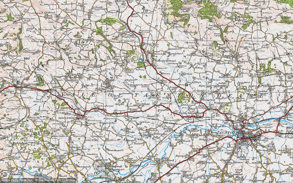Old Map of Historic Map covering Tone Vale in 1919