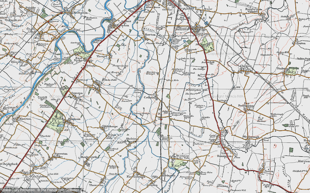 Old Map of Historic Map covering Balderton Grange in 1921