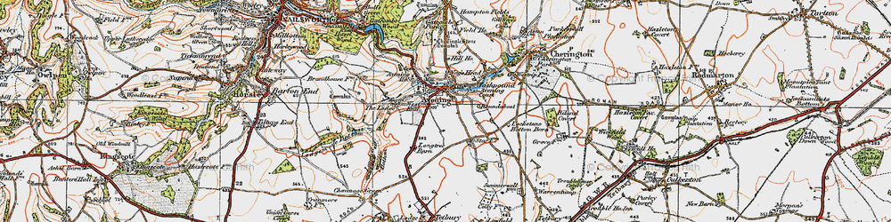 Old map of Cotswold Hills in 1919