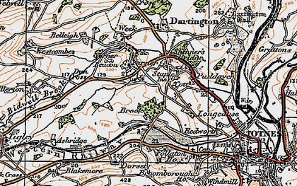 Old map of Yarner Beacon in 1919