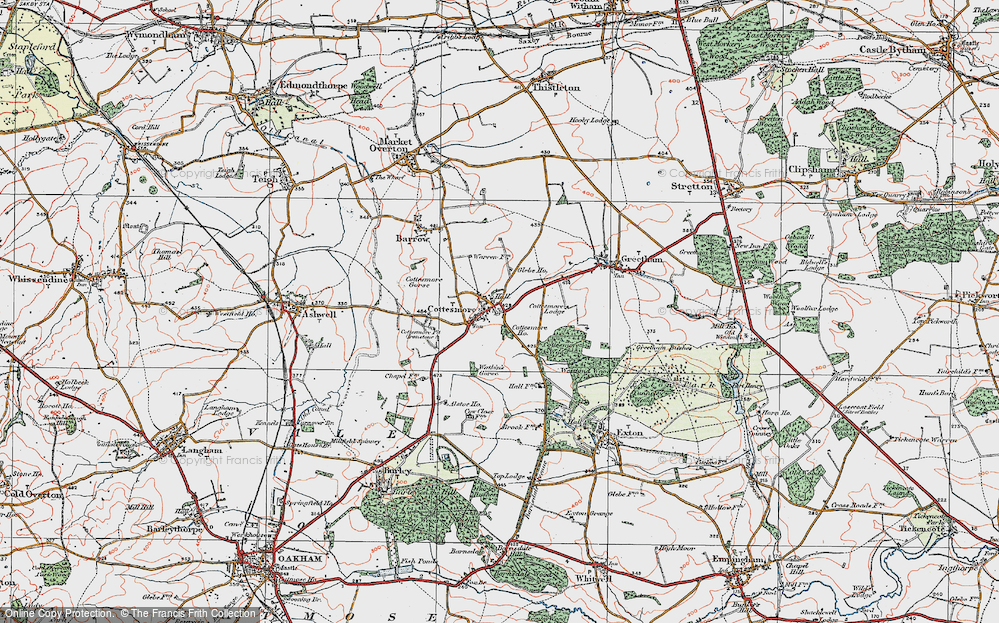 Old Map of Cottesmore, 1921 in 1921