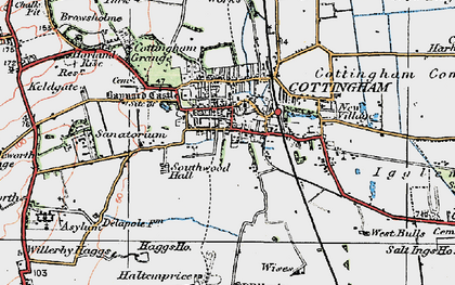 Old map of Cottingham in 1924
