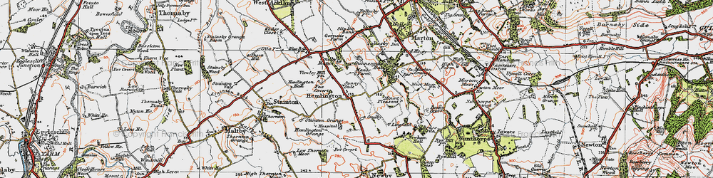 Old map of Coulby Newham in 1925