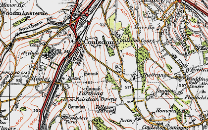 Old map of Coulsdon in 1920