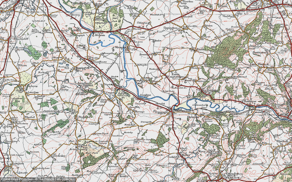 Old Map of Historic Map covering Leasowes in 1921