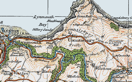Old map of Countisbury in 1919